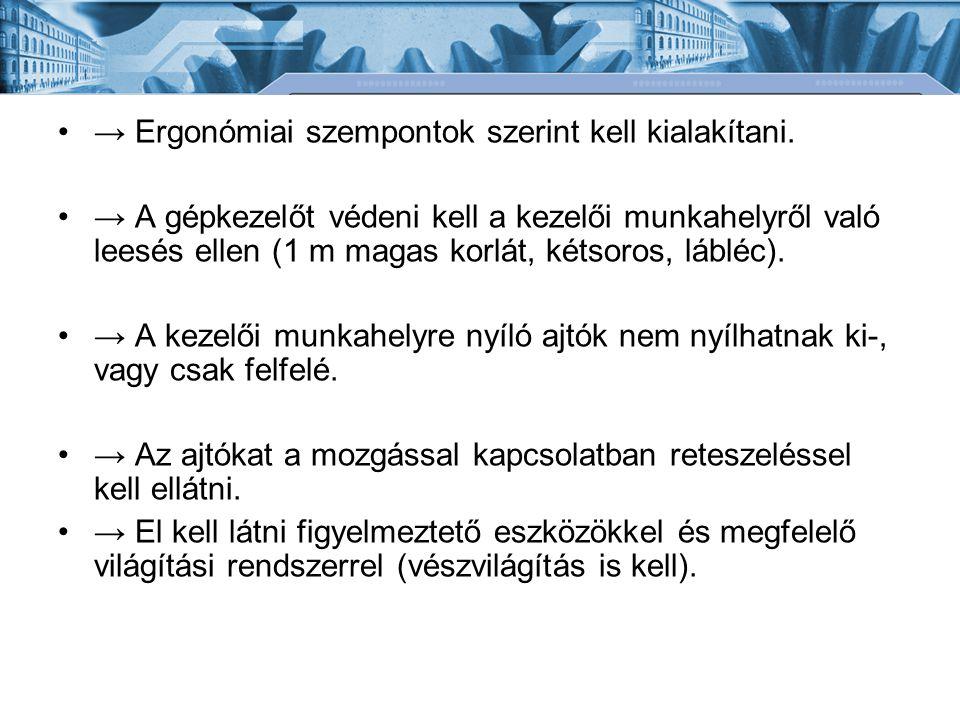 •→ Ergonómiai szempontok szerint kell kialakítani. •→ A gépkezelőt védeni kell a kezelői munkahelyről való leesés ellen (1 m magas korlát, kétsoros, l