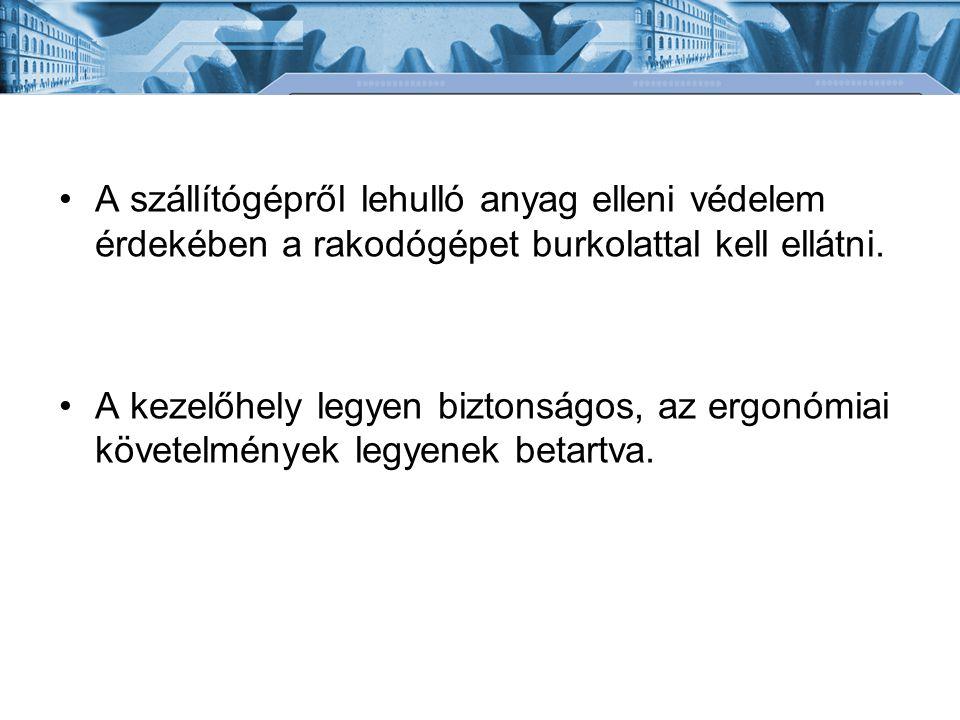 Bánki Donát Gépész és Biztonságtechnikai Mérnöki Kar Mechatronikai és Autótechnikai Intézet Fedett tárolók (tároló csarnok) -Garmadában (a problémák hasonlók, mint a szabadtérieknél).