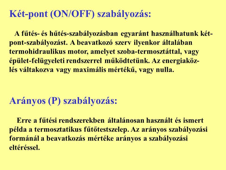 Két-pont (ON/OFF) szabályozás: A fűtés- és hűtés-szabályozásban egyaránt használhatunk két- pont-szabályozást. A beavatkozó szerv ilyenkor általában t