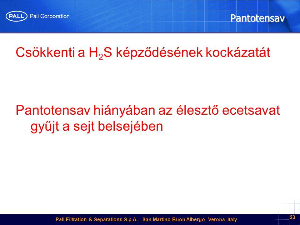 Pall Filtration & Separations S.p.A., San Martino Buon Albergo, Verona, Italy 23 Pantotensav Csökkenti a H 2 S képződésének kockázatát Pantotensav hiányában az élesztő ecetsavat gyűjt a sejt belsejében