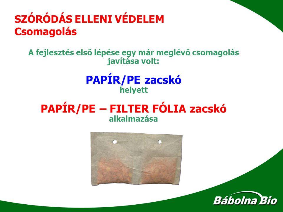 SZÓRÓDÁS ELLENI VÉDELEM Csomagolás A fejlesztés első lépése egy már meglévő csomagolás javítása volt: PAPÍR/PE zacskó helyett PAPÍR/PE – FILTER FÓLIA