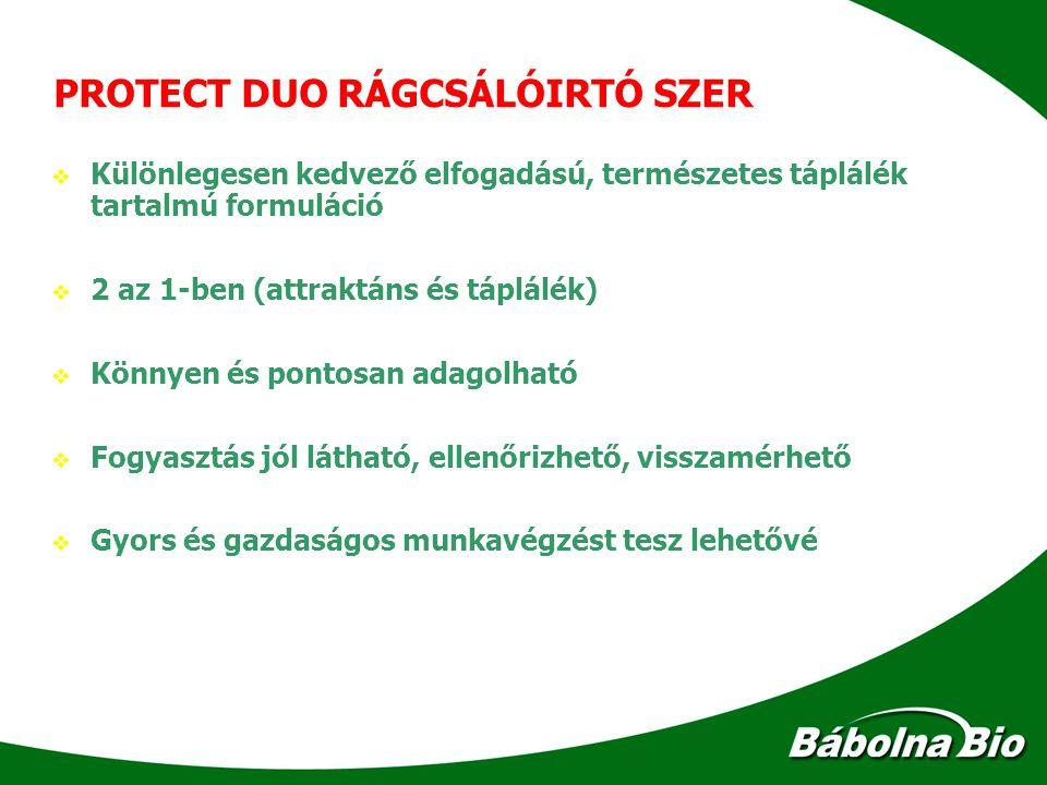 PROTECT DUO RÁGCSÁLÓIRTÓ SZER   Különlegesen kedvező elfogadású, természetes táplálék tartalmú formuláció   2 az 1-ben (attraktáns és táplálék) 