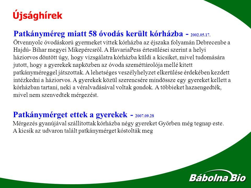 Újsághírek Patkánymérget ettek a gyerekek - 2007.09.28 Mérgezés gyanújával szállítottak kórházba négy gyereket Győrben még tegnap este. A kicsik az ud