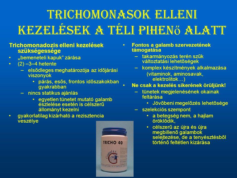 """Trichomonasok elleni kezelések a téli pihen ő alatt Trichomonadozis elleni kezelések szükségessége •""""bemeneteli kapuk"""" zárása •(2) –3–4 hetente –elsőd"""