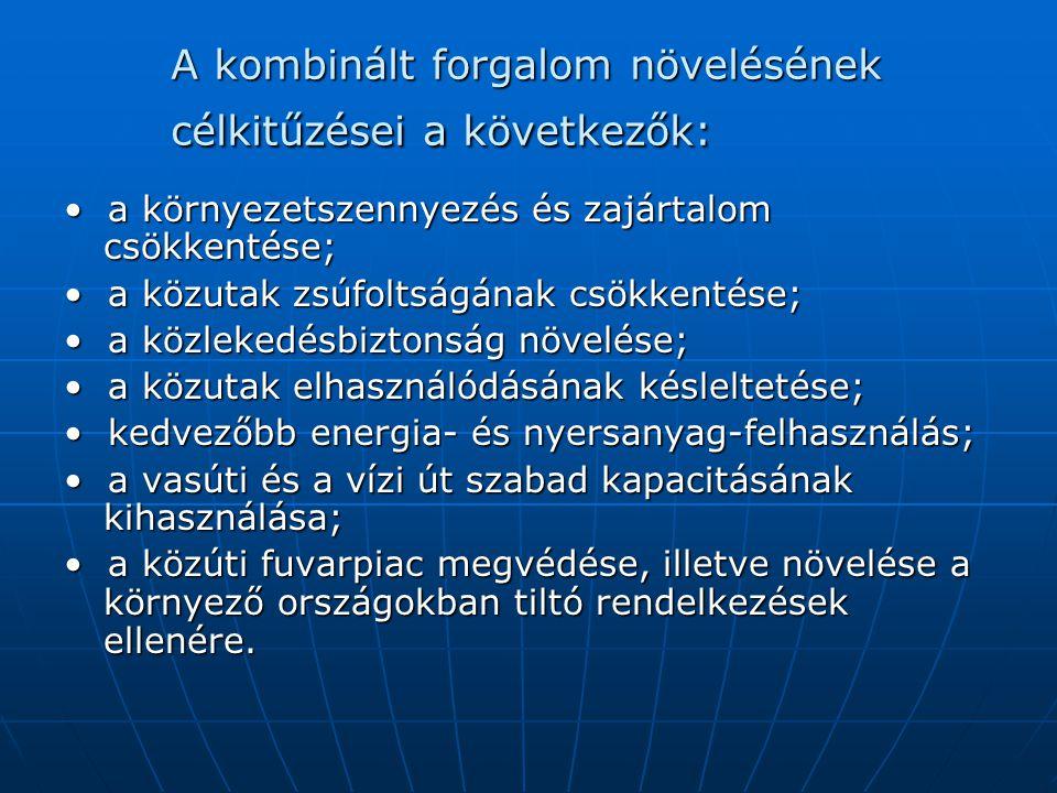 A kombiterminálok funkciói: • rakodás; - a szállítási egységek (pl.