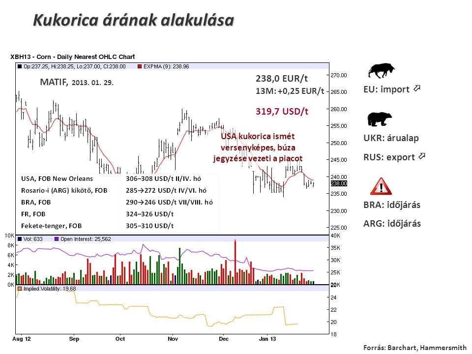 Kukorica árának alakulása MATIF, 2013. 01. 29. 238,0 EUR/t 13M: +0,25 EUR/t 319,7 USD/t EU: import  UKR: árualap RUS: export  BRA: időjárás ARG: idő