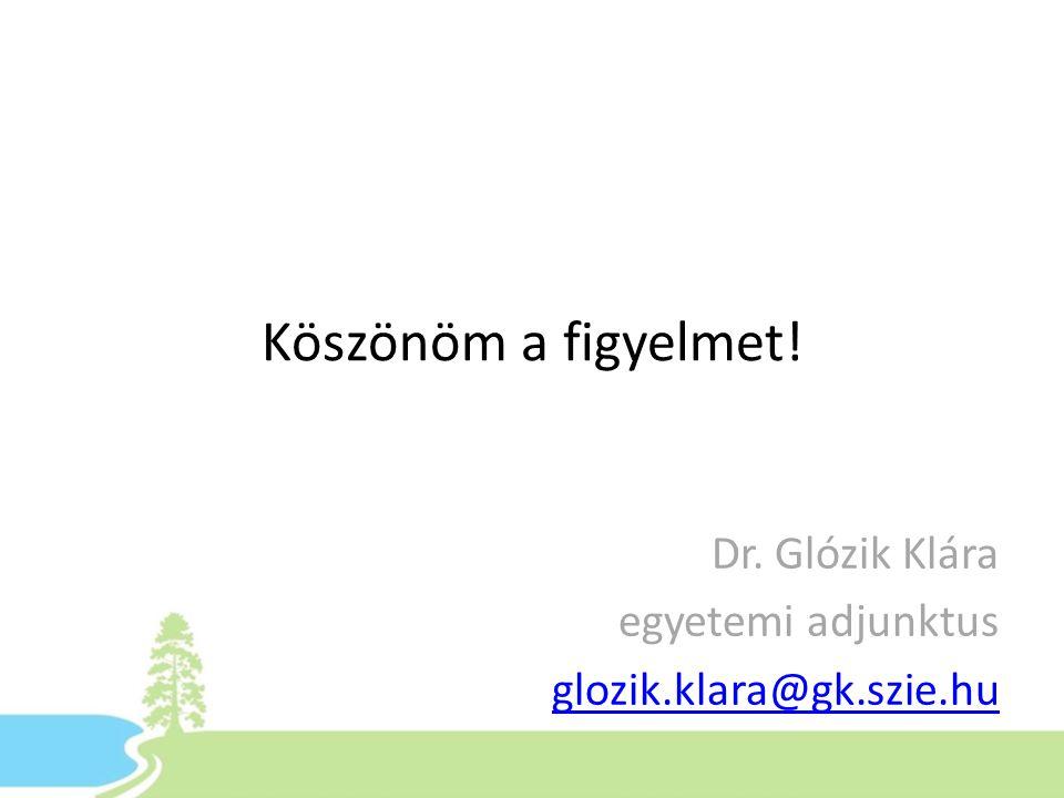 Köszönöm a figyelmet! Dr. Glózik Klára egyetemi adjunktus glozik.klara@gk.szie.hu