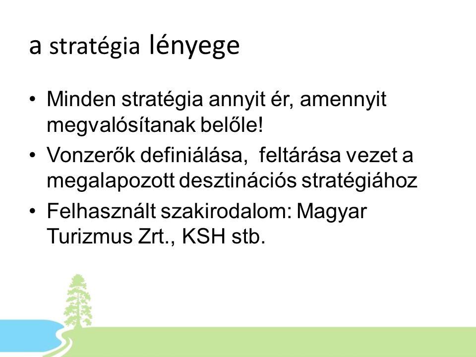a stratégia lényege •Minden stratégia annyit ér, amennyit megvalósítanak belőle! •Vonzerők definiálása, feltárása vezet a megalapozott desztinációs st
