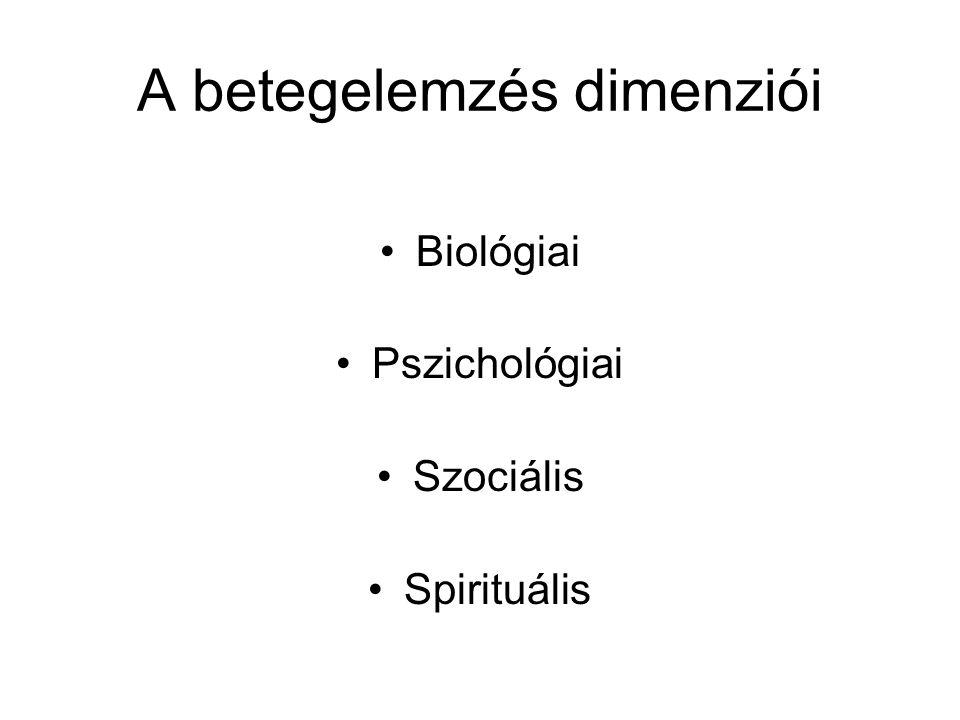 A betegelemzés dimenziói •Biológiai •Pszichológiai •Szociális •Spirituális
