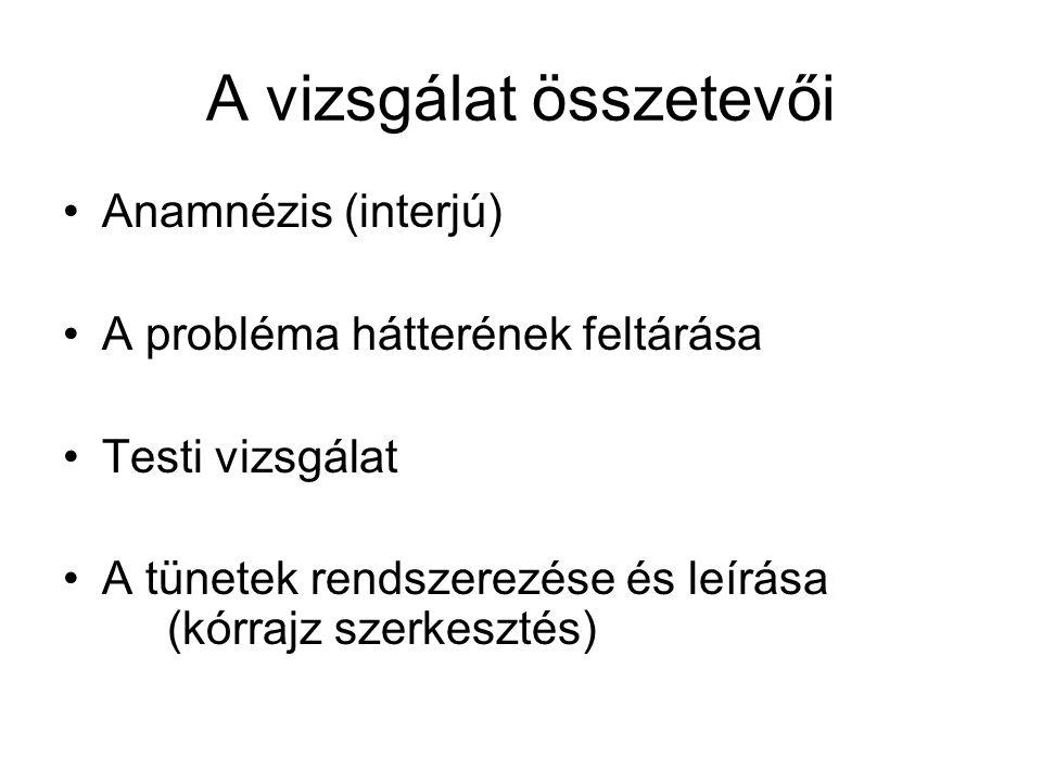 A vizsgálat összetevői •Anamnézis (interjú) •A probléma hátterének feltárása •Testi vizsgálat •A tünetek rendszerezése és leírása (kórrajz szerkesztés