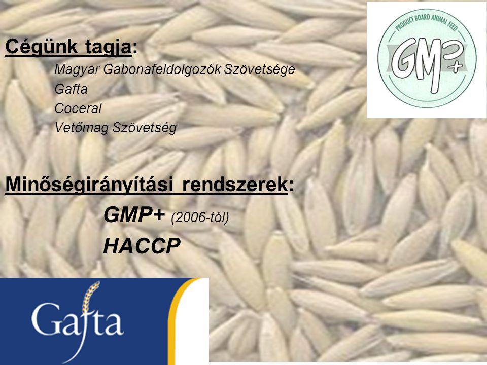 Cégünk tagja: Magyar Gabonafeldolgozók Szövetsége Gafta Coceral Vetőmag Szövetség Minőségirányítási rendszerek: GMP+ (2006-tól) HACCP