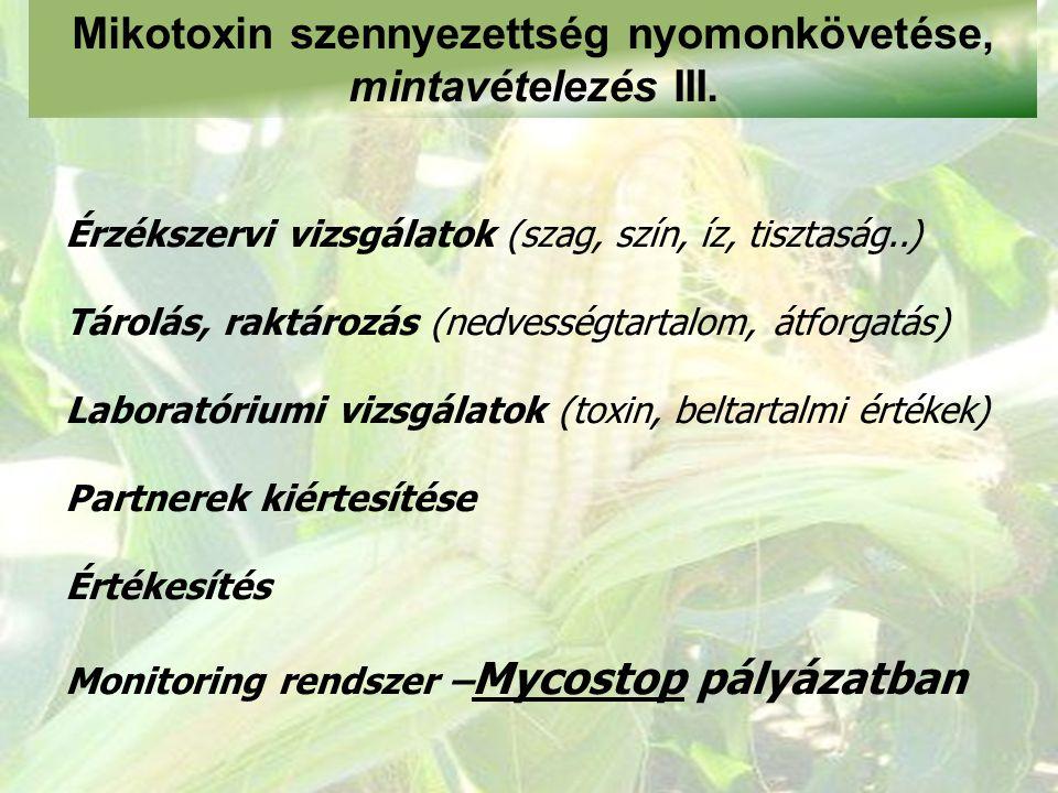 Mikotoxin szennyezettség nyomonkövetése, mintavételezés III. Érzékszervi vizsgálatok (szag, szín, íz, tisztaság..) Tárolás, raktározás (nedvességtarta