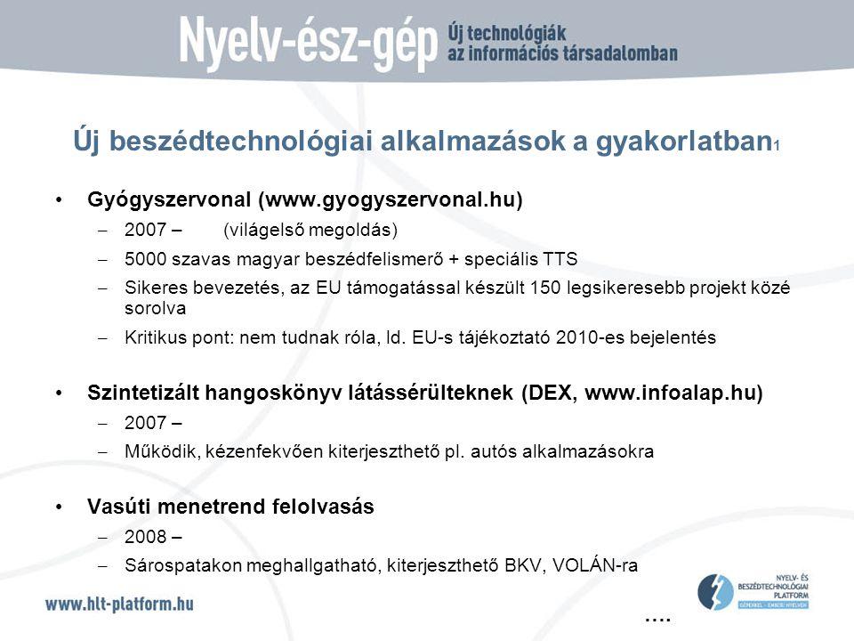 …. Új beszédtechnológiai alkalmazások a gyakorlatban 1 • Gyógyszervonal (www.gyogyszervonal.hu) – 2007 – (világelső megoldás) – 5000 szavas magyar bes