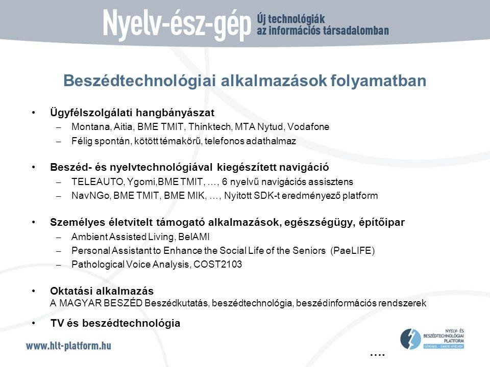 …. Beszédtechnológiai alkalmazások folyamatban • Ügyfélszolgálati hangbányászat – Montana, Aitia, BME TMIT, Thinktech, MTA Nytud, Vodafone – Félig spo