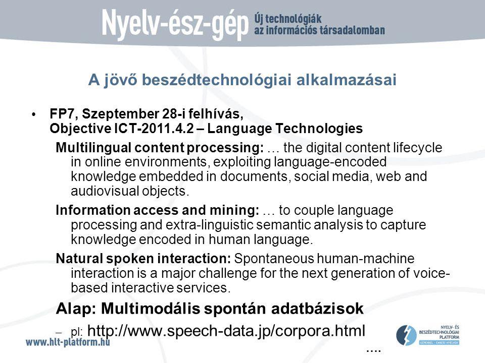 …. A jövő beszédtechnológiai alkalmazásai • FP7, Szeptember 28-i felhívás, Objective ICT-2011.4.2 – Language Technologies Multilingual content process