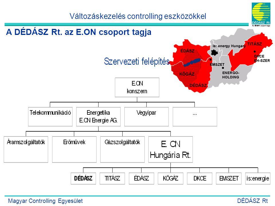 3 A DÉDÁSZ Rt. az E.ON csoport tagja Változáskezelés controlling eszközökkel Magyar Controlling EgyesületDÉDÁSZ Rt