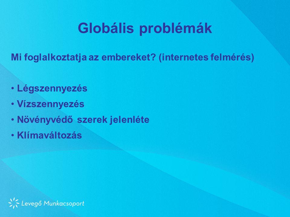 Globális problémák Mi foglalkoztatja az embereket? (internetes felmérés) • Légszennyezés • Vízszennyezés • Növényvédő szerek jelenléte • Klímaváltozás