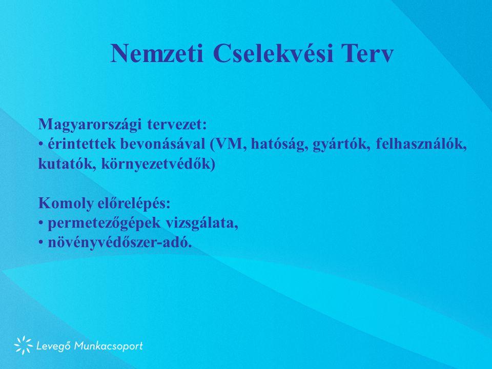 Nemzeti Cselekvési Terv Magyarországi tervezet: • érintettek bevonásával (VM, hatóság, gyártók, felhasználók, kutatók, környezetvédők) Komoly előrelépés: • permetezőgépek vizsgálata, • növényvédőszer-adó.