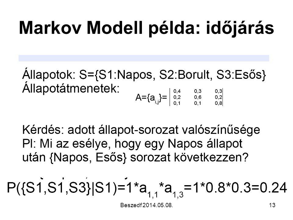Markov Modell példa: időjárás Beszedf 2014.05.08.13
