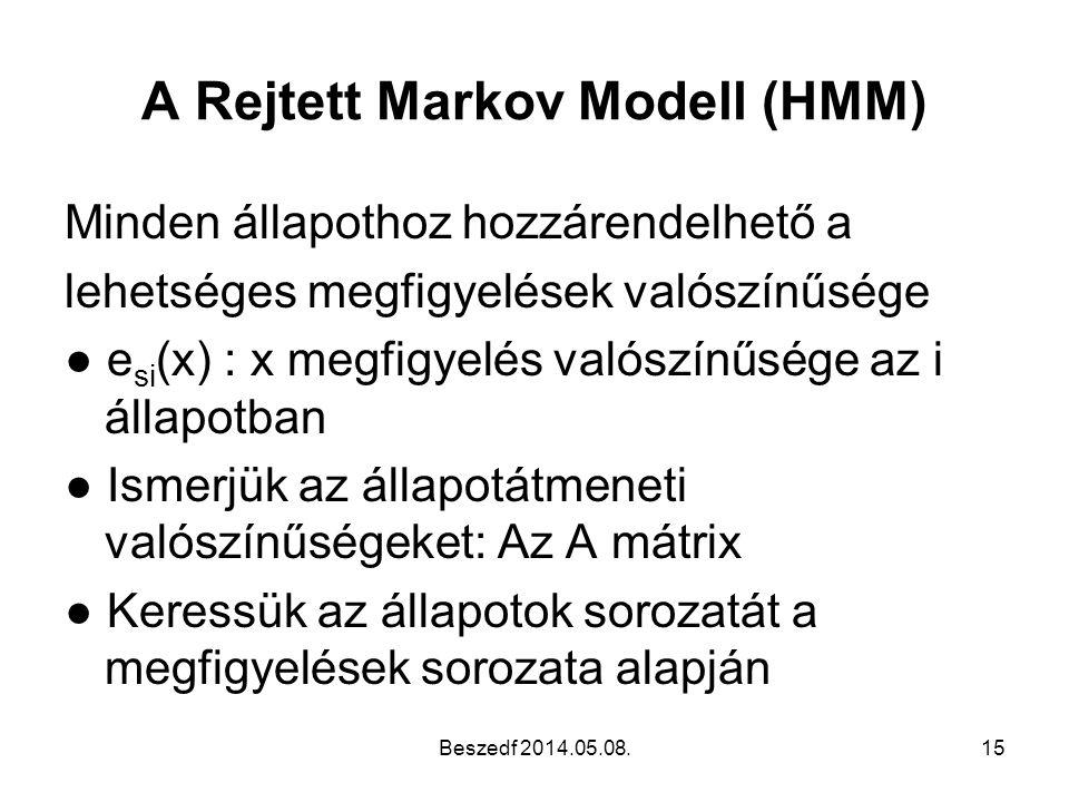 A Rejtett Markov Modell (HMM) Minden állapothoz hozzárendelhető a lehetséges megfigyelések valószínűsége ● e si (x) : x megfigyelés valószínűsége az i