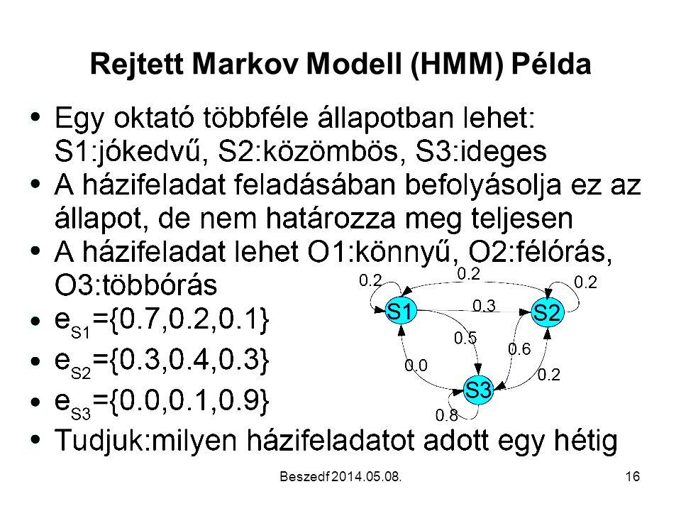 Rejtett Markov Modell (HMM) Példa Beszedf 2014.05.08.16