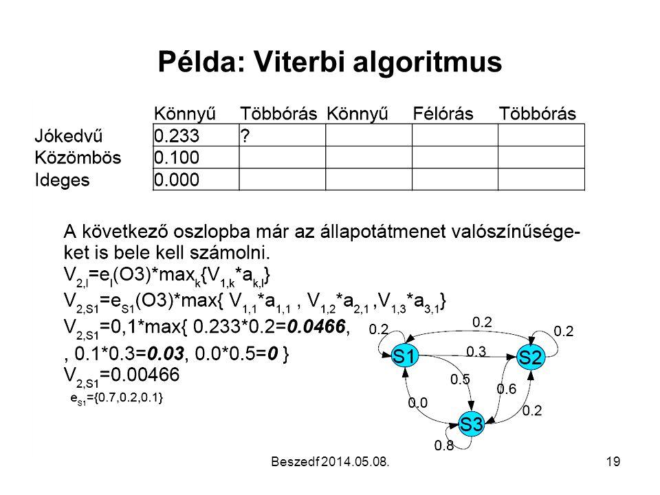 Példa: Viterbi algoritmus Beszedf 2014.05.08.19