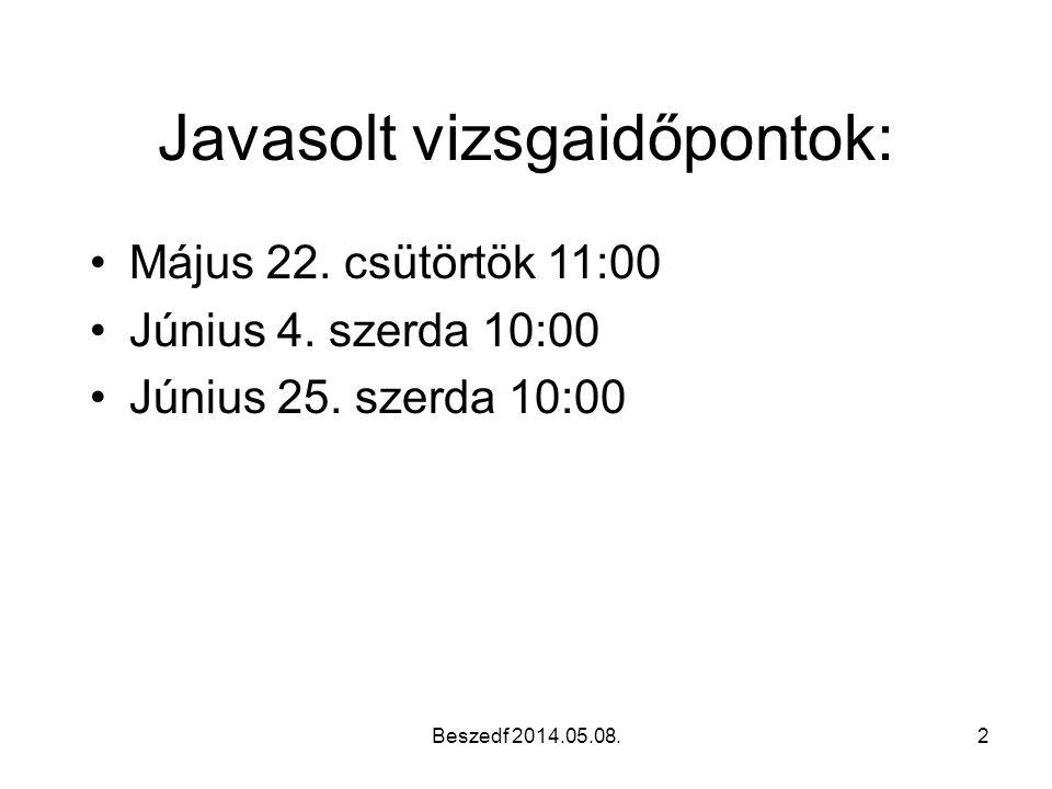 Beszedf 2014.05.08.2 Javasolt vizsgaidőpontok: •Május 22. csütörtök 11:00 •Június 4. szerda 10:00 •Június 25. szerda 10:00
