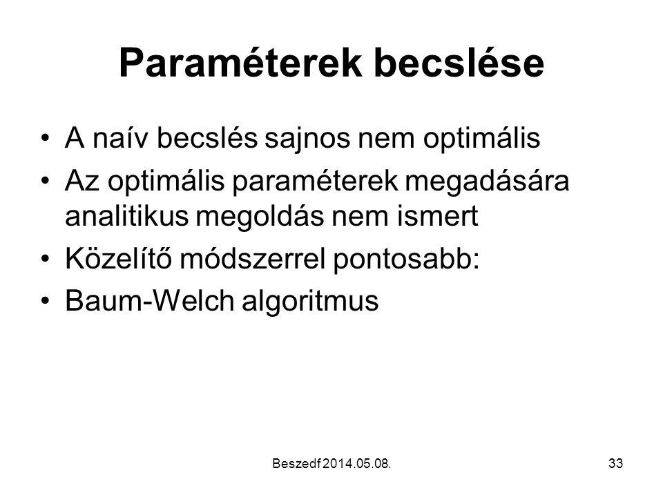 Paraméterek becslése •A naív becslés sajnos nem optimális •Az optimális paraméterek megadására analitikus megoldás nem ismert •Közelítő módszerrel pon