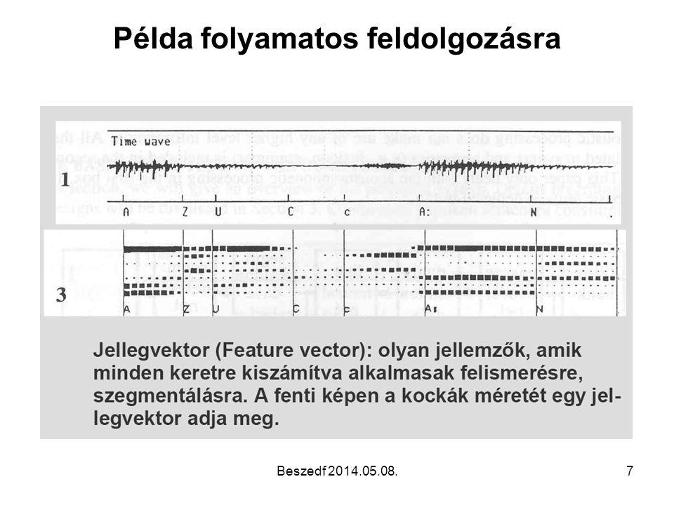 HMM: Értékelés •Az állapot-sorozatok elemzésével a fonémák kinyerhetőek a beszédjelből •Ez jóval erősebb eszköz a dinamikus •idővetemítésnél, ami csak egész kifejezések felismerésére használható •Tanítható •Részben beszélőfüggetlen, a beszélőn főleg az E mátrix múlik •A megfigyelések halmaza tetszőlegesen választható (pl spektrális információ és energia, egyéb akusztikus jegyek ) Beszedf 2014.05.08.38
