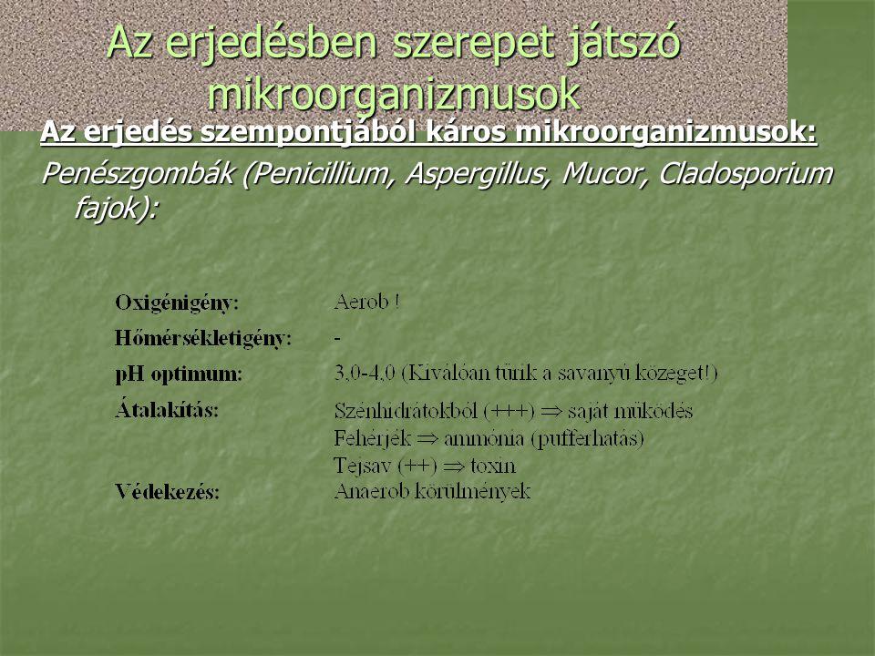 Az erjedésben szerepet játszó mikroorganizmusok Az erjedés szempontjából káros mikroorganizmusok: Penészgombák (Penicillium, Aspergillus, Mucor, Clado