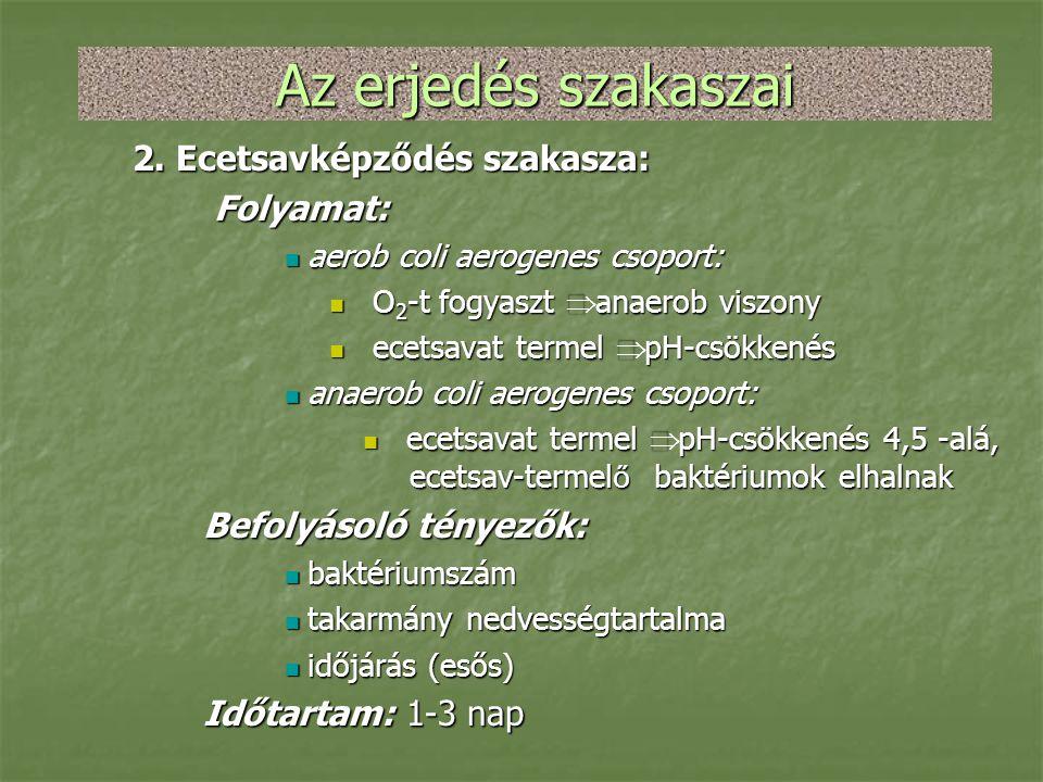 Az erjedés szakaszai 2. Ecetsavképződés szakasza: Folyamat: Folyamat:  aerob coli aerogenes csoport:  O 2 -t fogyaszt  anaerob viszony  ecetsavat