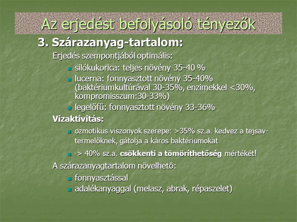 Az erjedést befolyásoló tényezők 3. Szárazanyag-tartalom: Erjedés szempontjából optimális:  silókukorica: teljes növény 35-40 %  lucerna: fonnyaszto