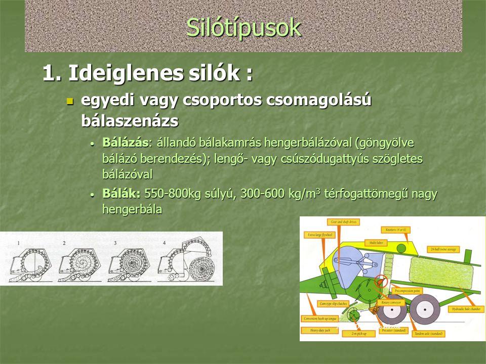Silótípusok 1. Ideiglenes silók :  egyedi vagy csoportos csomagolású bálaszenázs  Bálázás: állandó bálakamrás hengerbálázóval (göngyölve bálázó bere
