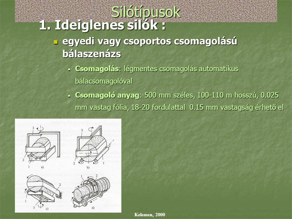 Silótípusok 1. Ideiglenes silók :  egyedi vagy csoportos csomagolású bálaszenázs  Csomagolás: légmentes csomagolás automatikus bálacsomagolóval  Cs