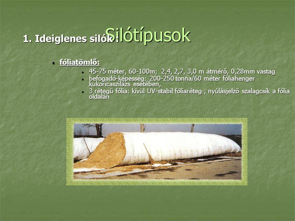 Silótípusok 1. Ideiglenes silók :  fóliatömlő:  45-75 méter, 60-100m; 2,4, 2,7, 3,0 m átmérő, 0,28mm vastag  befogadó-képesség: 200-250 tonna/60 mé