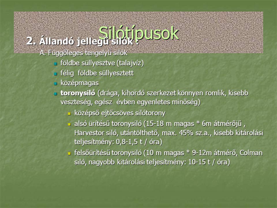Silótípusok 2. Állandó jellegű silók : A. Függőleges tengelyű silók  földbe süllyesztve (talajvíz)  félig földbe süllyesztett  középmagas  toronys