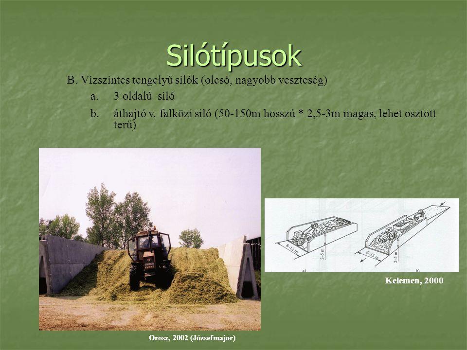 Silótípusok B. Vízszintes tengelyű silók (olcsó, nagyobb veszteség) a.3 oldalú siló b.áthajtó v. falközi siló (50-150m hosszú * 2,5-3m magas, lehet os