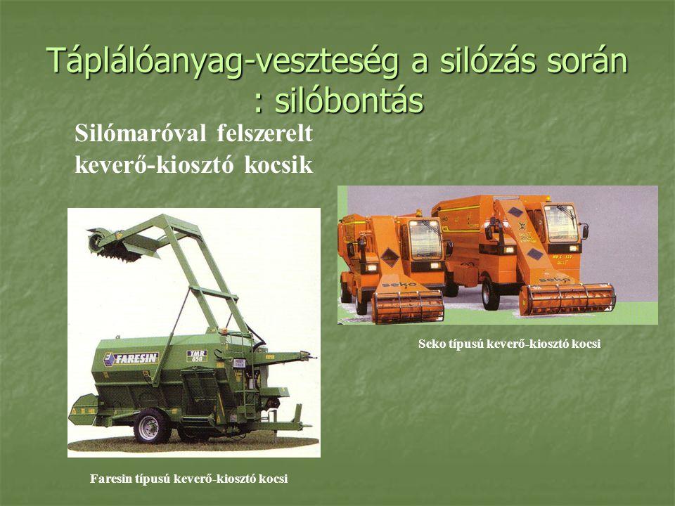 Táplálóanyag-veszteség a silózás során : silóbontás Silómaróval felszerelt keverő-kiosztó kocsik Seko típusú keverő-kiosztó kocsi Faresin típusú kever