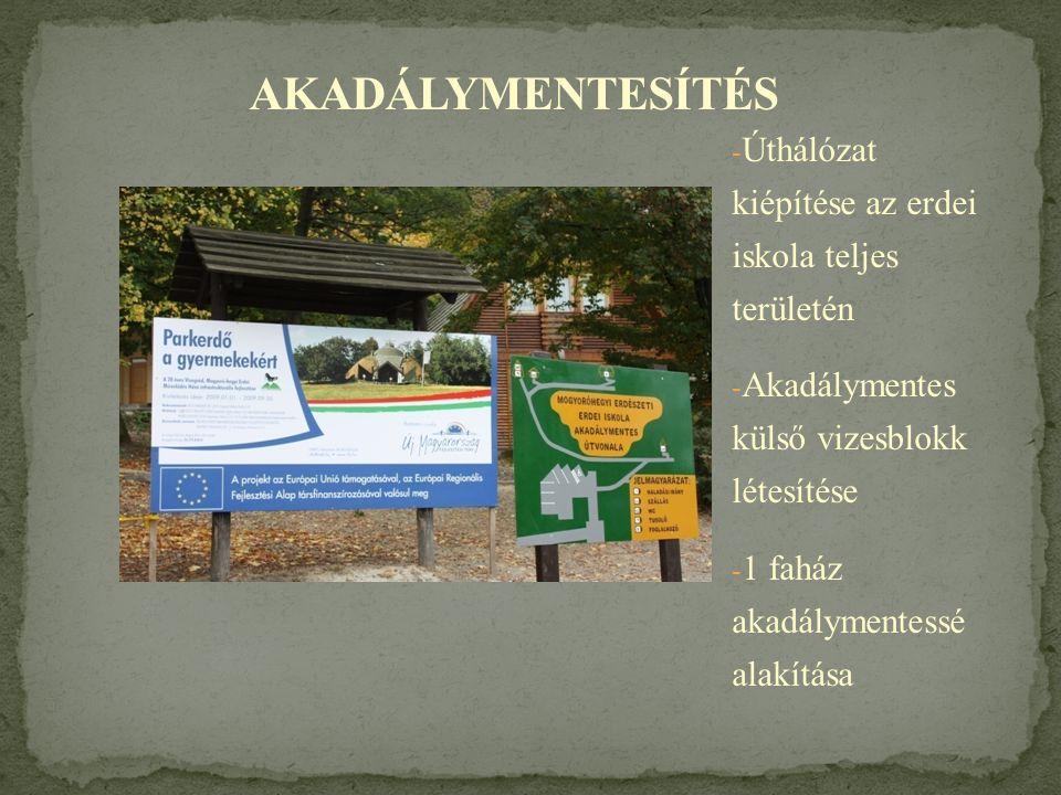 - Úthálózat kiépítése az erdei iskola teljes területén - Akadálymentes külső vizesblokk létesítése - 1 faház akadálymentessé alakítása