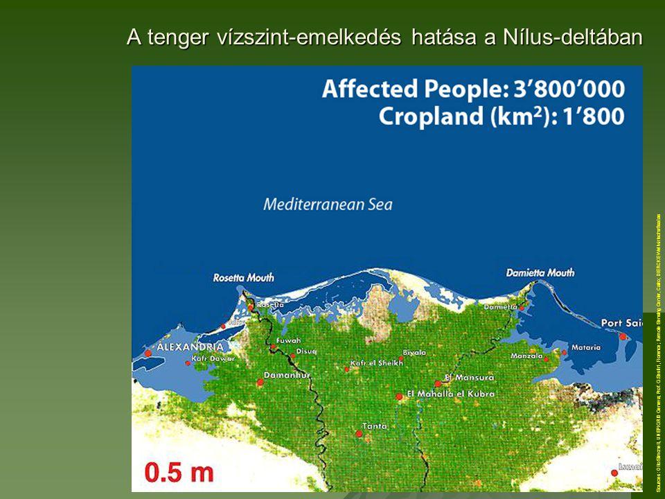 A tenger vízszint-emelkedés hatása a Nílus-deltában Sources: Otto Simonett, UNEP/GRID Geneva; Prof. G.Sestini, Florence; Remote Sensing Center, Cairo;