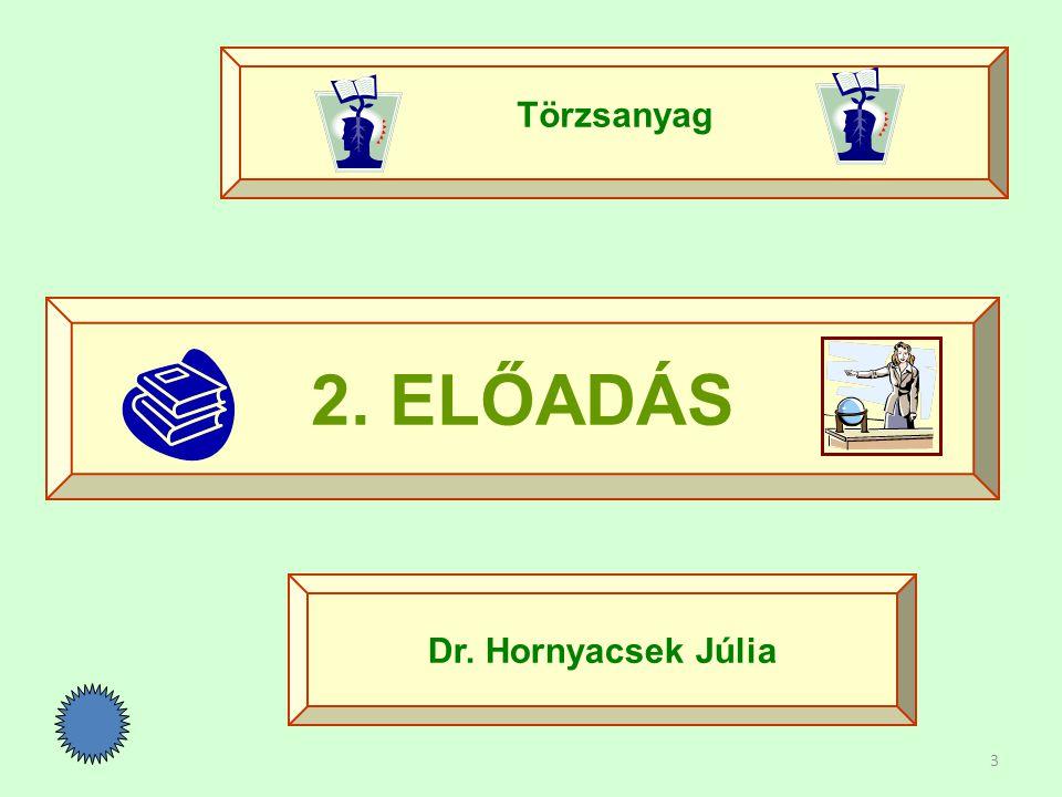 3 2. ELŐADÁS Törzsanyag Dr. Hornyacsek Júlia