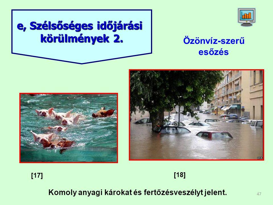 47 Özönvíz-szerű esőzés e, Szélsőséges időjárási körülmények 2. [17] [18] Komoly anyagi károkat és fertőzésveszélyt jelent.