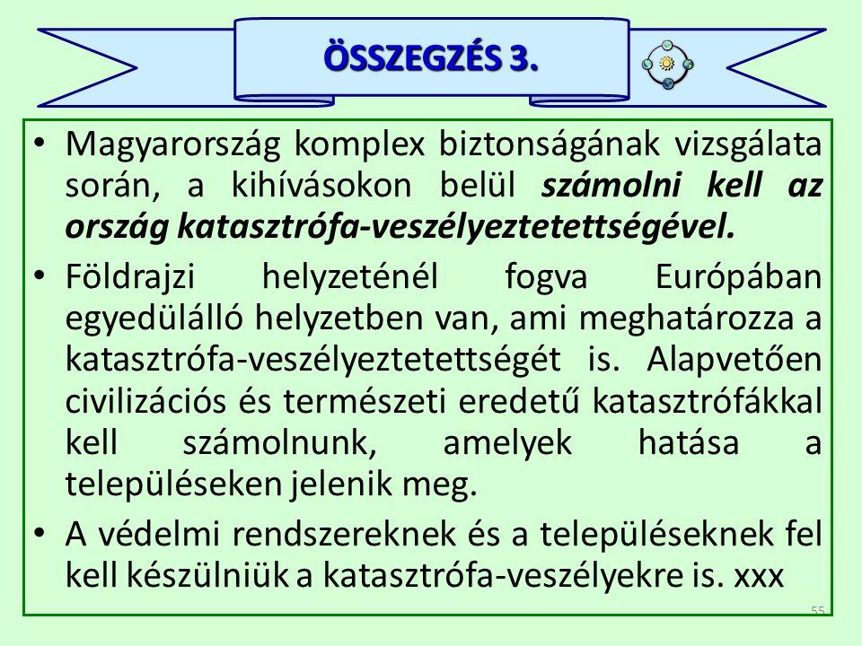 55 • Magyarország komplex biztonságának vizsgálata során, a kihívásokon belül számolni kell az ország katasztrófa-veszélyeztetettségével. • Földrajzi