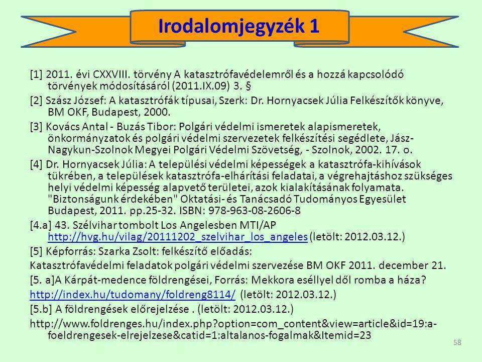 58 [1] 2011. évi CXXVIII. törvény A katasztrófavédelemről és a hozzá kapcsolódó törvények módosításáról (2011.IX.09) 3. § [2] Szász József: A katasztr