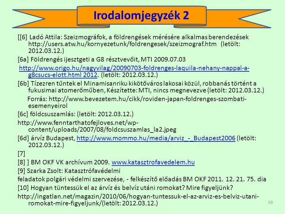 59 [[6] Ladó Attila: Szeizmográfok, a földrengések mérésére alkalmas berendezések http://users.atw.hu/kornyezetunk/foldrengesek/szeizmograf.htm (letöl