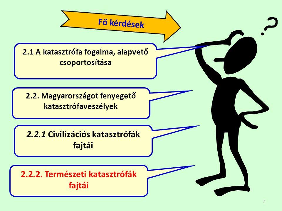 7 2.1 A katasztrófa fogalma, alapvető csoportosítása 2.2. Magyarországot fenyegető katasztrófaveszélyek Fő kérdések 2.2.1 Civilizációs katasztrófák fa
