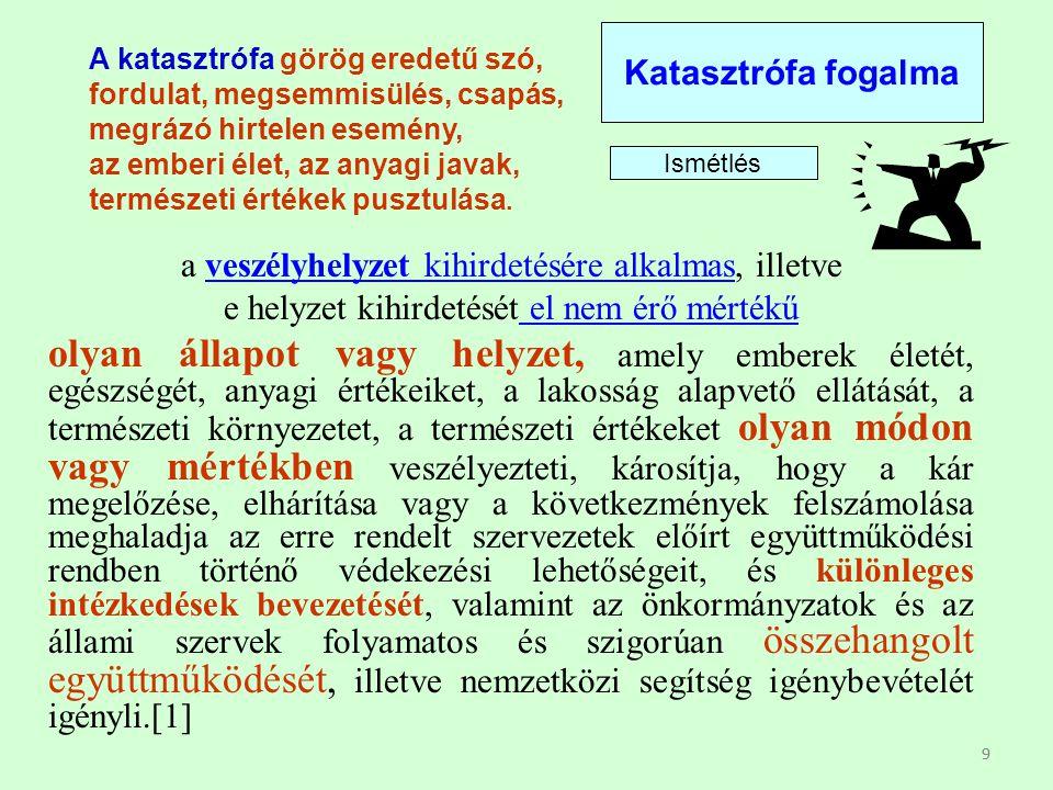 99 A katasztrófa görög eredetű szó, fordulat, megsemmisülés, csapás, megrázó hirtelen esemény, az emberi élet, az anyagi javak, természeti értékek pus