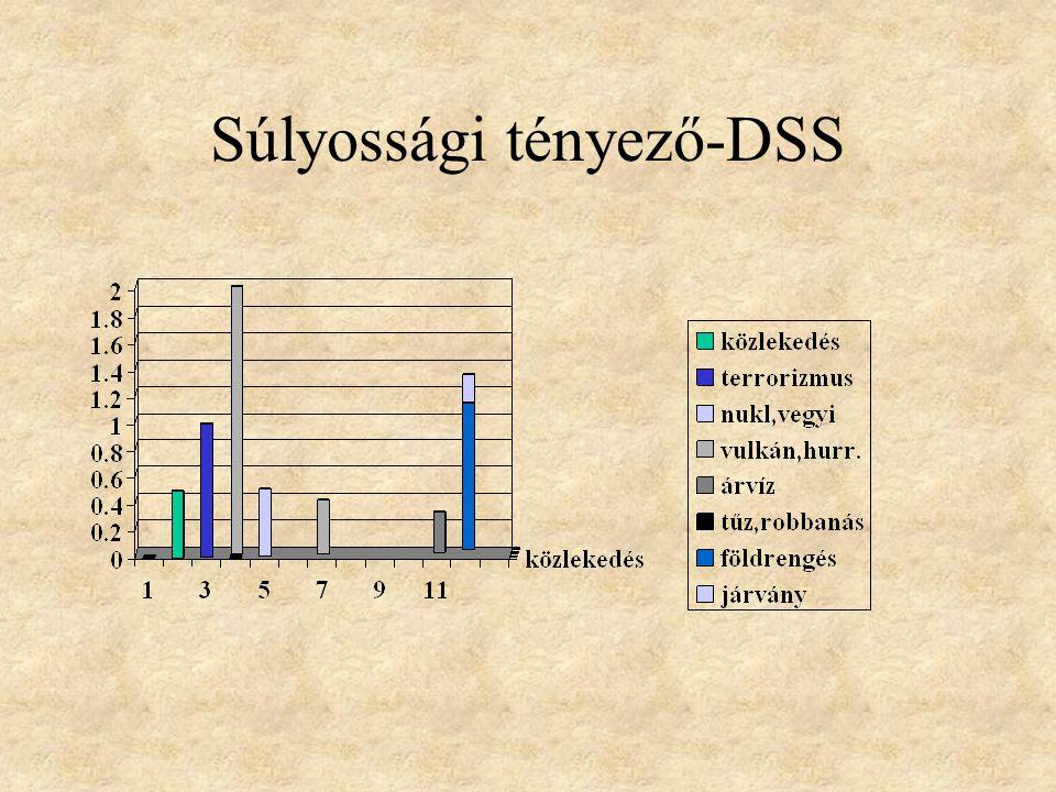 A súlyossági tényező S= T1 + T2 T3 S = 0-1 T3 > T1+T2 pl.: zavargások,tornádó S = 1 T3~ T1+T2 pl: közlekedési balesetek S = 1- 2 T3 < T1 + T2 pl : tűzvész, robbanás