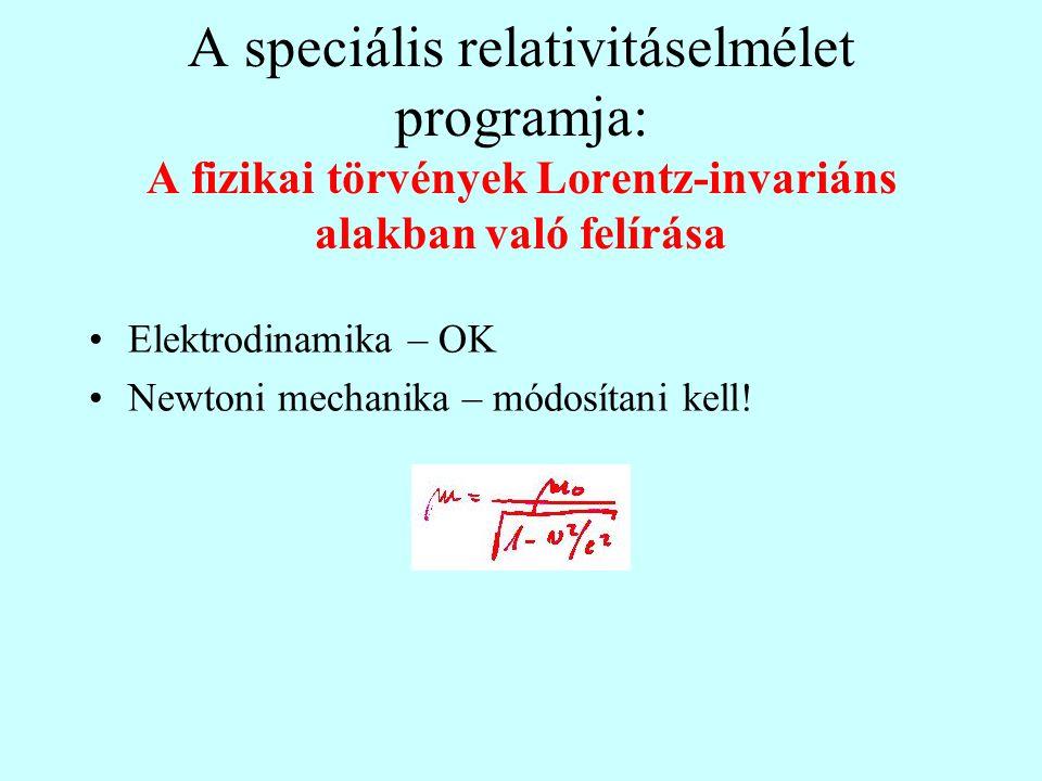 A speciális relativitáselmélet programja: A fizikai törvények Lorentz-invariáns alakban való felírása •Elektrodinamika – OK •Newtoni mechanika – módos