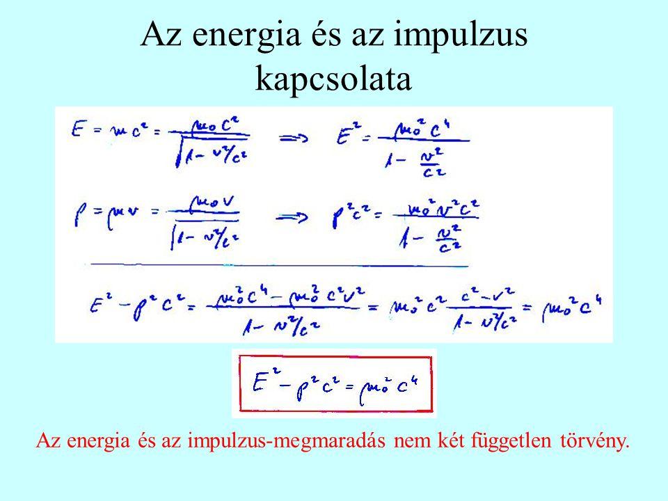 Az energia és az impulzus kapcsolata Az energia és az impulzus-megmaradás nem két független törvény.